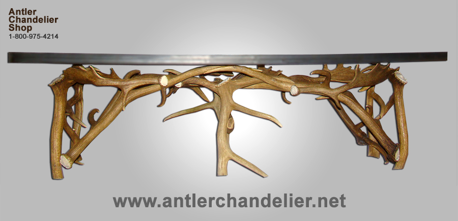 Real Antler Elk Fallow Coffee Table Deer Rustic Lighting Chandelier Lamp Ebay