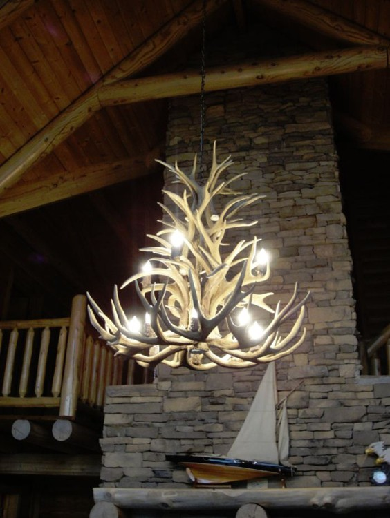 Chandelier Lighting Photo Gallery – Real Deer Antler Chandelier