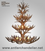 Reproduction 3-Tier Mule Deer Chandelier CRL-11