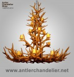 Reproduction Elk/Mule Deer Tall Spruce Chandelier ElkMD
