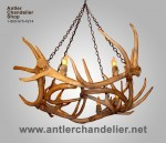 Reproduction Elk / Whitetail Wagon Wheel Chandelier RWGNWHEEL