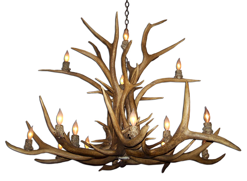 Real Antler Two Tier Elk Chandelier ELKINVT 2
