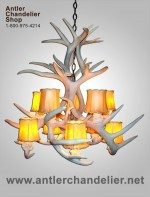 Real Antler White-tail Cascade Inverted Chandelier WTCASCINVT