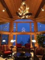Real Antler Moose / Mule Deer Combo Chandelier MooseMDCasc