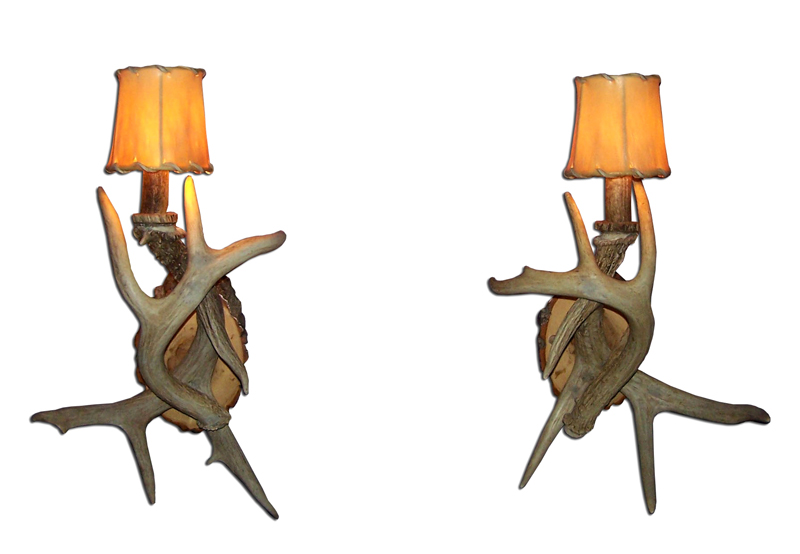White Antler Wall Lights : CHANDELIERS SCONCES