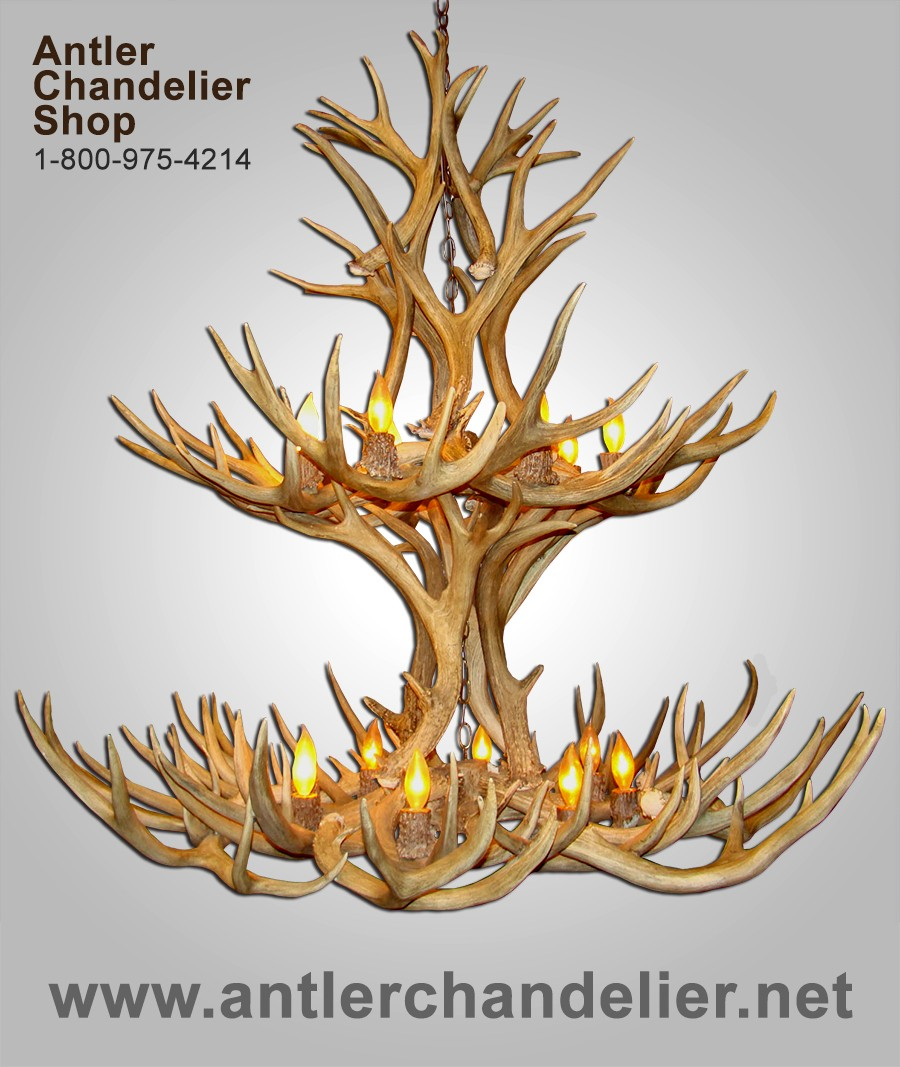 Real Antler Multitier Mule Deer Chandelier MD2TR – Real Deer Antler Chandelier