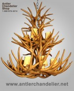 Reproduction 2-Tier Mule Deer Antler Chandelier CRL-10