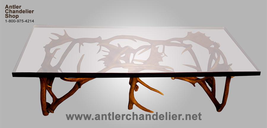Details About REAL ANTLER ELK/FALLOW COFFEE TABLE, DEER, RUSTIC LIGHTING,  CHANDELIER LAMP