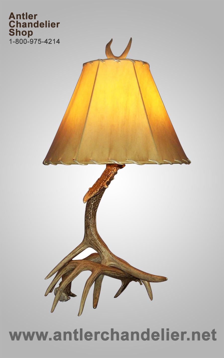 WHITE TAIL DEER ANTLER TABLE LAMP, Rustic, Chandelier, Lighting | eBay