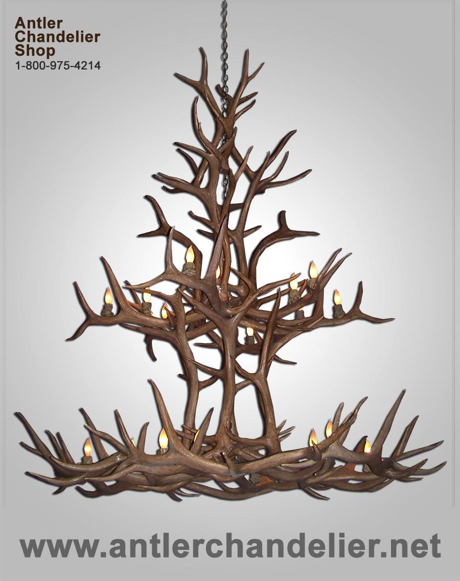 Xl antler chandeliers antler chandelier reproduction elk double tier chandelier crl 29 arubaitofo Gallery