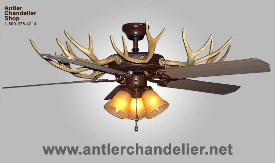 Real Antler White Tail Mule Deer Celing Fan