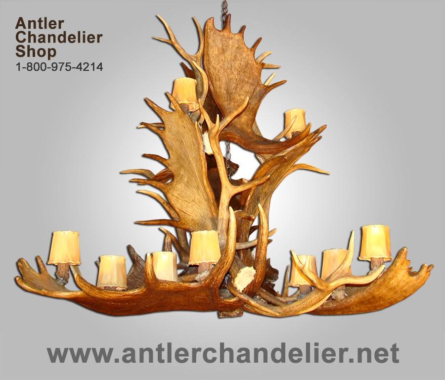 Xl antler chandeliers antler chandelier real antler moose elk cascade chandelier moselkcasc mozeypictures Choice Image