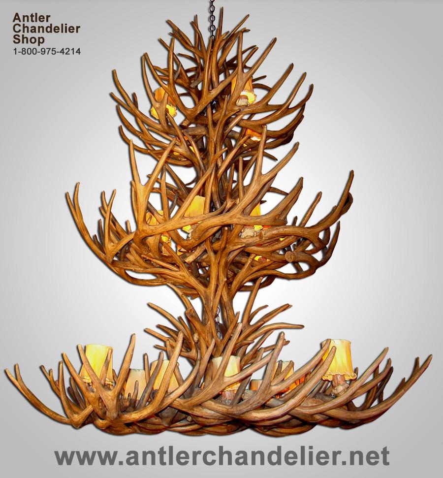 Xl antler chandeliers antler chandelier reproduction triple tier mule deer chandelier crl 32 arubaitofo Gallery