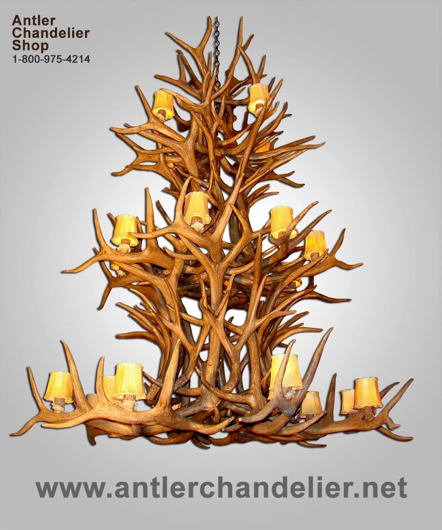 Xl antler chandeliers antler chandelier reproduction triple tier elk mule deer chandelier remd3tr arubaitofo Gallery